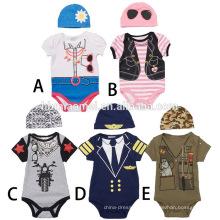 Großhandel One-Pieces Anzug Jumpsuit Kurzarm Printed Baby Onesie Overall Baby mit Hut