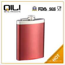 FDA approved floral print steel flask leather pouch