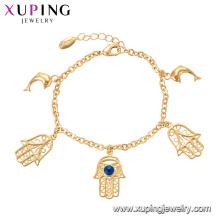75137 Xuping personalizada pulsera de cadena de oro de pescado especial estilo mano con joyas de mal de ojo