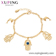 75137 Xuping personnalisé style spécial main poisson chaîne en or bracelet avec bijoux oeil mauvais