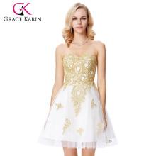 Grace Karin Strapless Sweetheart Golden Appliqued White Beaded Tulle Cocktail Dress GK000138-1