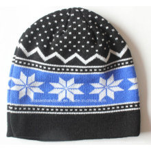 Custom Made Logo Acrylic Jacquard Knit Winter Sports Snow Daily Wool Beanie