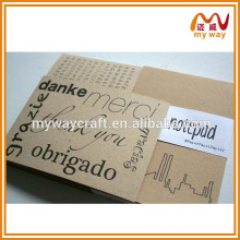 2016 new product art and craft recycled kraft blank paper notepad for school/office/family/gifts
