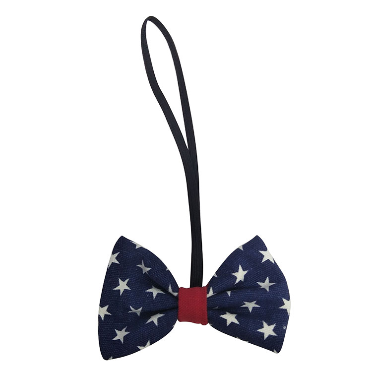 Christmas small dog bow tie plaid blue