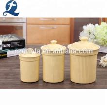 Color popular de cerámica a granel té café azúcar bote conjunto con tapa