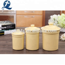 Beliebte Farbe Keramik Bulk Tee Kaffee Zucker Kanister Set mit Deckel