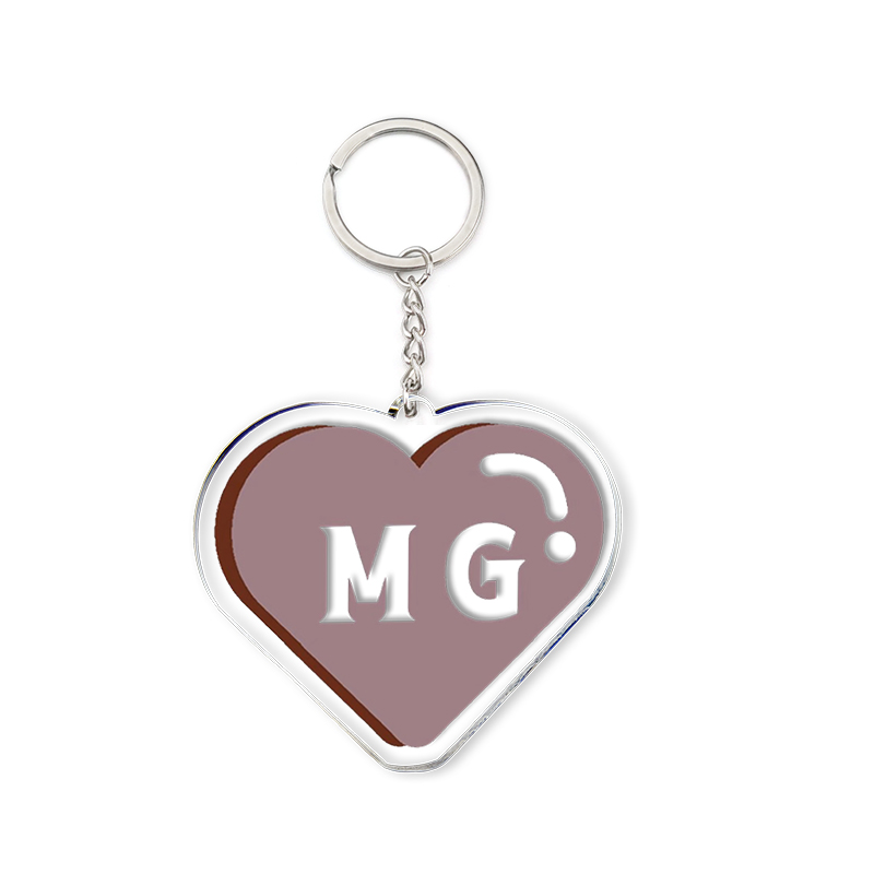 Acrylic Heart Keychain Brown