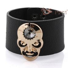 Braceletes de couro largos com crânio, braceletes de couro dos homens 2014 braceletes de couro lisos novos do projeto