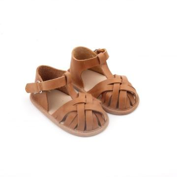 ECO-Friendly Leather Newborn Baby Sandalias para niños pequeños Zapato