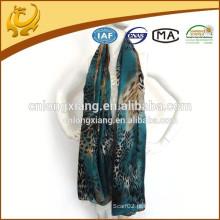 New Noble Fashion Women's Long Wrap Senhora Shawl Blue Color Silk Leopard Chiffon impresso cachecol