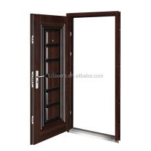 Wood Grain Entrance Interior Gate Door Iron Gate Models ISO Certificate Factory Modern Security Doors Swing Graphic Design Steel