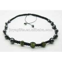3PCS Crystal ball shamballa necklace with hematite beads