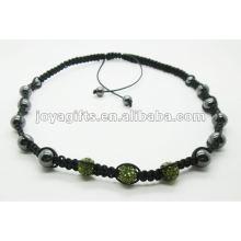 3PCS хрустальный шар shamballa ожерелье с гематитом бисер