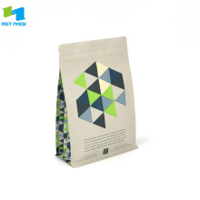 100% Bio Compostable Standing Up Box Bottom Pouch Coffee Bag dengan Zipper