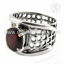 Célébré 925 bijoux en argent Bague en grenat rouge Grossiste bague en argent sterling