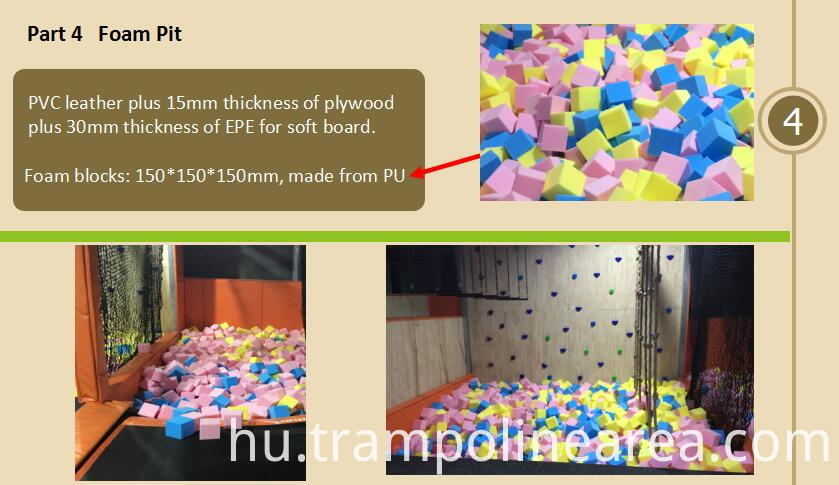 Foam pit of trampoline park with basketball