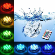 RGB 10 Led Submersible Battery Operated IP68 Waterproof Underwater Swimming Pool Wedding Party Piscina Pond Lighting