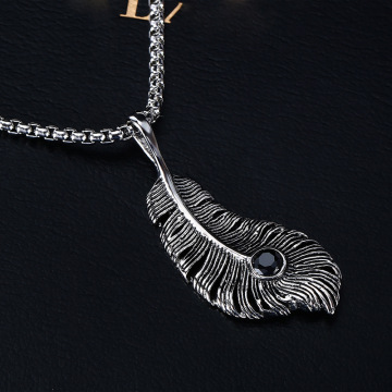 Hot Fashion Asli Stainless Steel Casting Feather Pendant