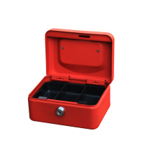 2020 HOT selling small metal cash box with three compartments tray 6 inch