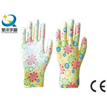 Garden Gloves, Printing Polyestershell Transparent Nitrile Coated Smooth Finish, Safety Work Gloves (N6050)