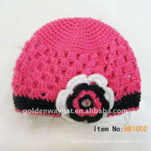 Girl beanie winter hat with flower for sale