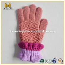 Gants tricotés à laine à 100% en hiver avec doublure en molleton doux