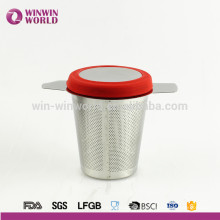 Brew-in-mug Teapot Extra Fine Mesh Tea Strainer Infuser Steeper with Lid and Handle for Loose Leaf Grain Tea Cups, Mugs