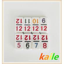 Dupla 12 Número tema colorido dominó com caixa de couro