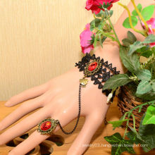 Facotry charms metal wholesale FC-03 Red dimamond Alloy nail bracelet and rings set