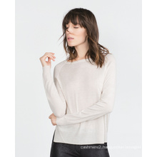 Women clothing factory 100% cashmere knitting tops thin women tops pullover solid color O neck