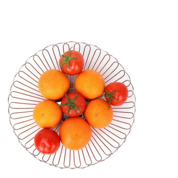 Modern Cheap Living Room Handmade Decorative Vegetable Storage Chrome Iron Wire Metal Fruit Basket