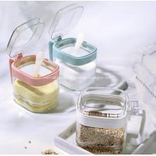 Conjunto de caixa de tempero de jarra de condimento de vidro transparente