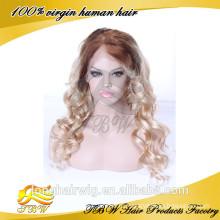 100% Человеческие Волосы Белый Парик Фронта Шнурка Ломбер Парики Шнурка Для Белых Женщин