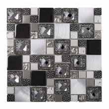 Antique Style Square Glass Mixed Metal Mosaic Tiles for Wall Decor
