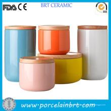 Цветной глазурованной чай кофе сахар керамические канистру с крышкой бамбука