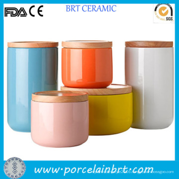 Colorful Glazed Tea Coffee Sugar Ceramic Canister with Bamboo Lid