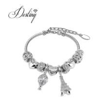 Fashion Silver Alloy 18K Gold Plated Eiffel Tower La Ville Charm Women Bracelet