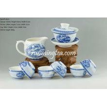 Pintura de la escena de la orilla en el conjunto de Teaware del festival de Qingming, Gaiwan, lanzador y 6 tazas