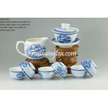 Pintura de Riverside Scene en Qingming Festival Teaware Set, Gaiwan, Pitcher & 6 Cups