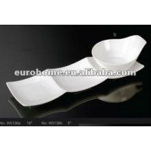Cuenco de cerámica blanca con plato (Nº W0136)