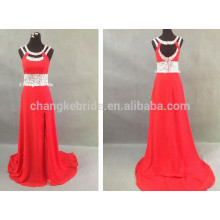 Real Sample Red Beading Long Chiffon Prom Dresses For Summer