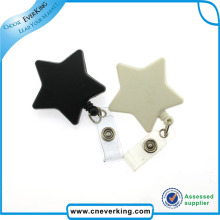 Star Shaped Badge Reel with Plastic Clip