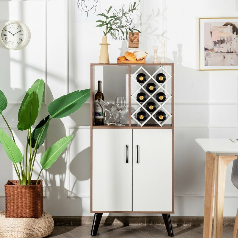 Bar Cabinet Wooden Buffet Sideboard Storage Cupboard With Wine Rack 3