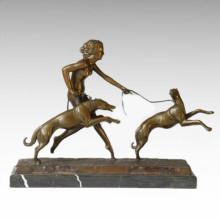Nackte Figur Statue Hunde Mädchen Bronze Skulptur TPE-323