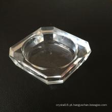 Suporte de vela e castiçal de vidro quadrado de um único orifício