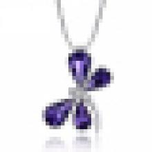 Autriche Améthyste Cristal Papillon Pendentif Garantie Solide 925 Sterling Argent pour Femmes Pendentif Collier Fine Jewelry