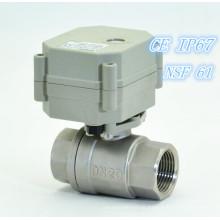 """3/4 """"em miniatura Válvula de esfera elétrica de aço inoxidável de 2 vias (T20-S2-C)"""