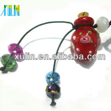 grânulos animais de madeira do pendente de vidro vermelho quente da garrafa de perfume da venda com tampão de madeira