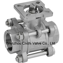Three Pieces Stainless Steel Type High Mouting Pad Ball Valve