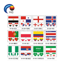 Countries Flag Tattoo Body Stickers 6*6cm Football Funs Water Transfer Face Stickers